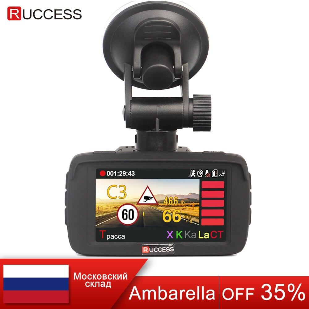 RUCCESS 2.7 Ambarella Car DVR 3 in 1 Radar Detector GPS Video Recorder Full HD 1080p Speed Camera for Car Recording Registrar