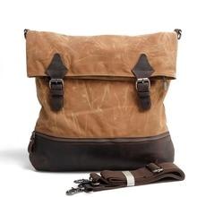British Style Waterproof Male Bag Oil Wax Canvas Men Messenger Bags Vintage Shoulder Bag Crazy Horse Leather Travel School Bags