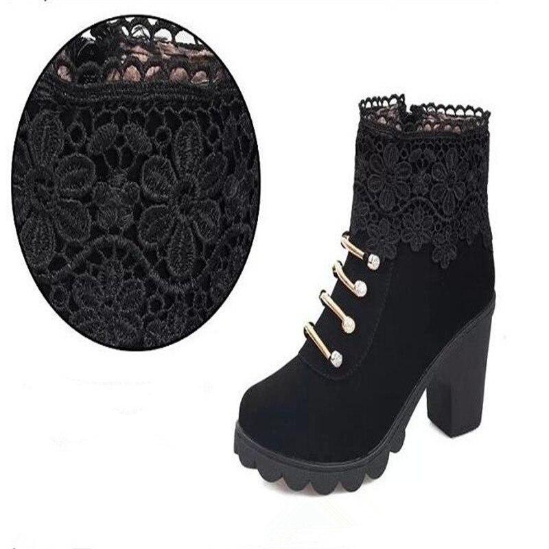 Botas Botines Altos Zapatos Encaje Moda Mujer Mujeres Pu De Señoras 2017 Elegante Sexy Punta Plataforma brown Black Redonda Cuero Tacones Cómodo 1qF570Ow