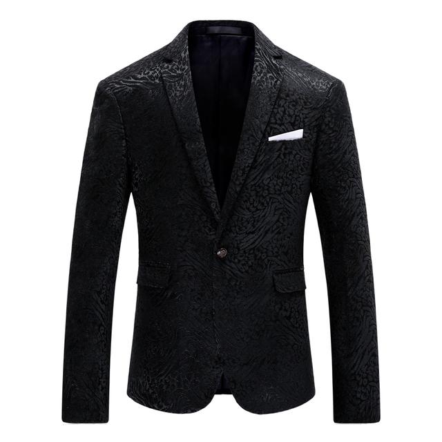 Blazer Men 2016 Famous Brand Stylish Blazers For Men Slim Fit Black Homens Blazer Fashion Printed Wedding Dress Prom Suit Q221
