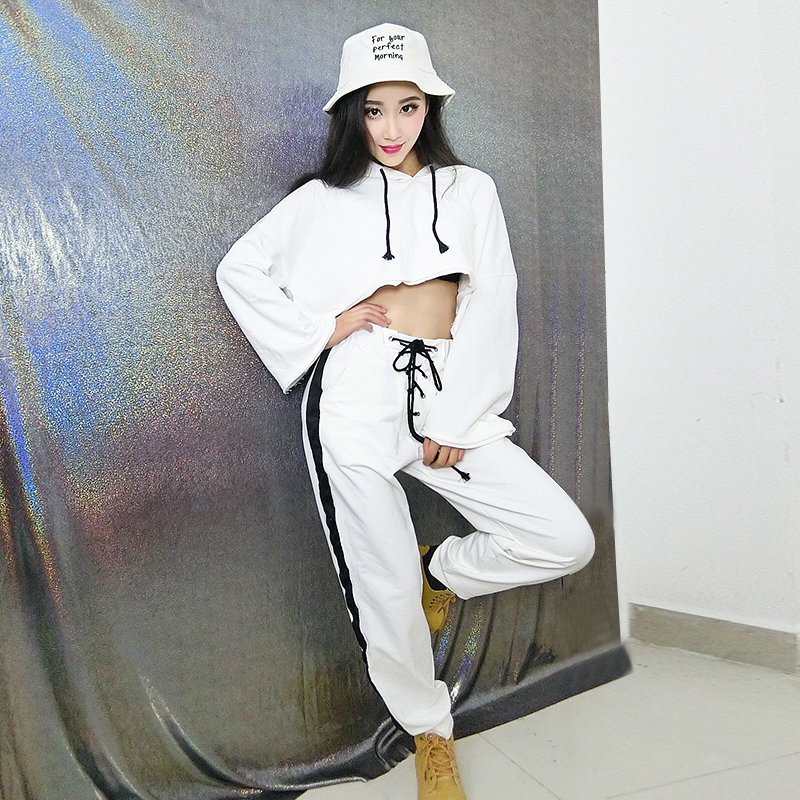 Jazz Dance Costume For Women White Dj Rave Clothes Hip Hop Performance Clothing Street Dance Practice Wear Ds Gogo Outfit DC2001