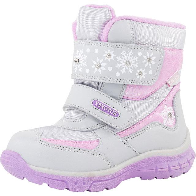 Зимние ботинки для девочек, непромокаемые ботильоны для детей, теплые ботинки на плоской подошве с подкладкой из шерсти, детская обувь, плюшевые зимние ботинки для девочек