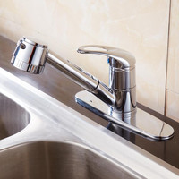 Pull Out Sprayer Kitchen Sink Faucet Chrome Sink Taps Pure Brass Polished Bathroom Faucet With 8
