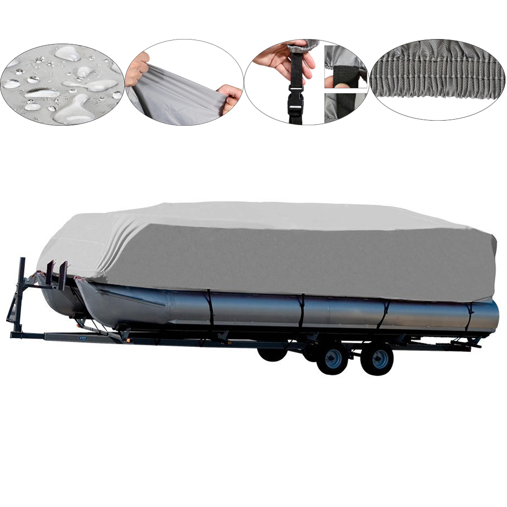 Boat Covers WaterProof 210D Oxford Grey Boat Mooring Cover 17 18 19 20 FT Beam Trailerable Fish-Ski Boat Cover Accessories все цены