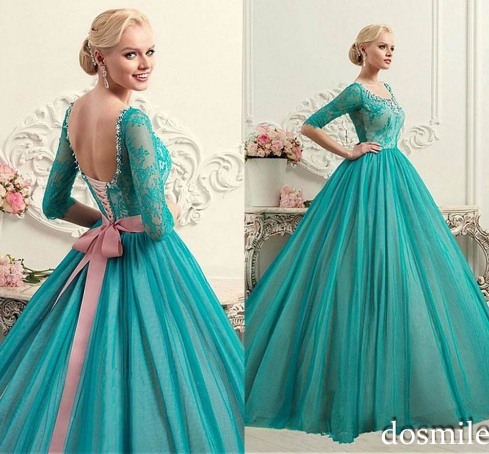Turquoise elegant ball gown lace up low back quinceanera dresses