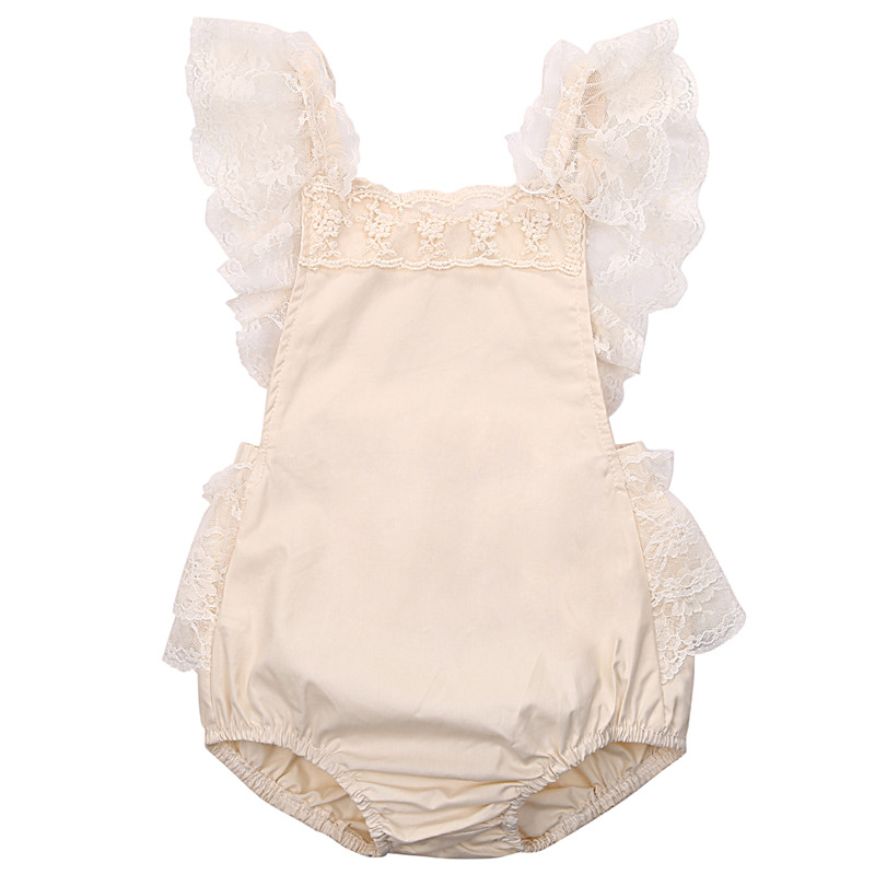 2018 Summer Baby Ruffled Lace Baby Girl Clothes New Fashion Cute Toddler Girls Fly Sleeve Belt Romper
