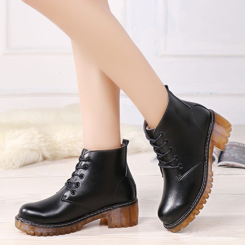 Women Short Boots Black Red Female Winter Fur Shoes Lace Up Platform Boots Rubber Bottom Suede Ankle Boots for Ladies in Ankle Boots from Shoes