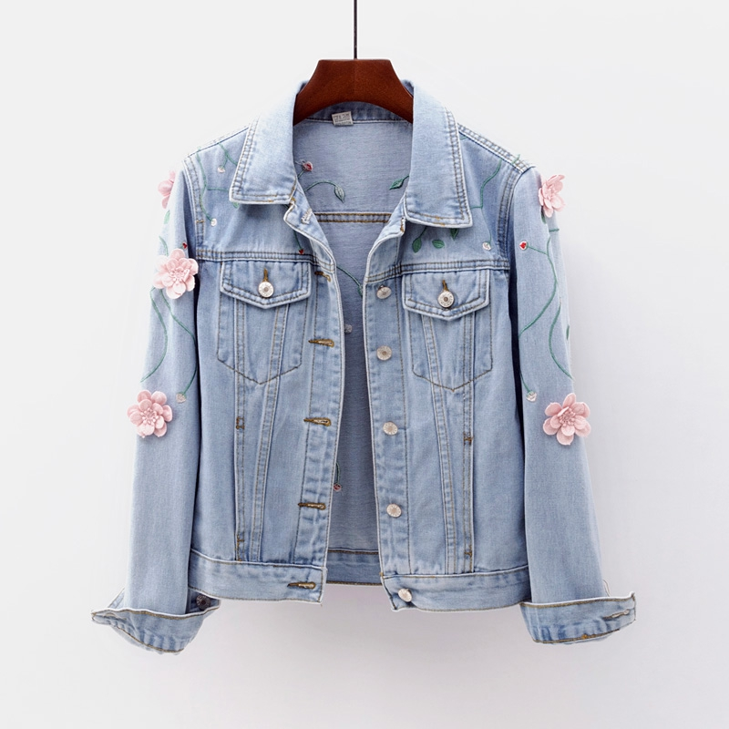 European Style Spring Women Slim Embroidered Three-dimensional Flowers Long Sleeve Denim Jacket Women's Jeans Coat denim jackets