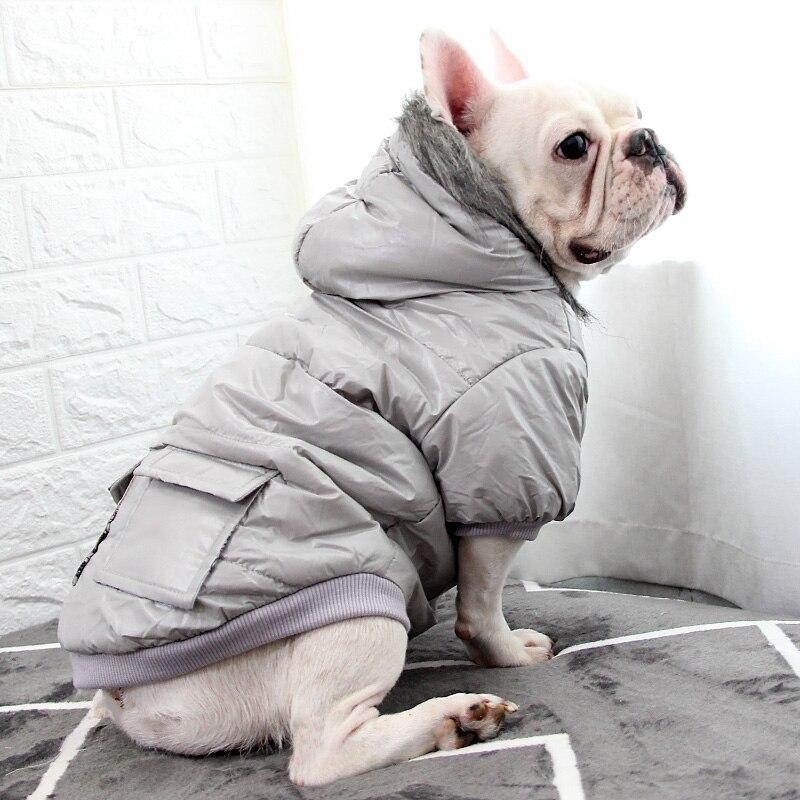 Winter Dog Coat Jacket Poodle Bichon Pomeranian Pug French Bulldog Clothes Warm Pet Clothing Hooded Outfits Dog Costume