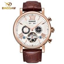 BINSSAW New Men Luxury Brand Automatic Mechanical Watch Fashion Military Business Leather Man Calendar Watches relogio masculino
