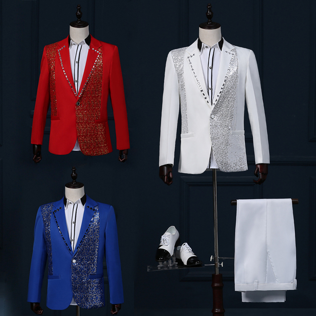 free shipping wedding suits for men jacket+pant 2016 new terno masculino Korean costume homme nightclub mens stage sequins suits