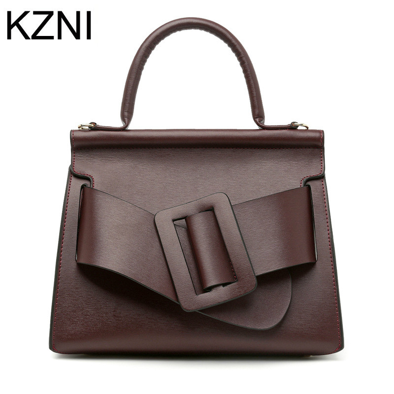 KZNI women genuine leather handbags luxury handbags women bags designer good quality