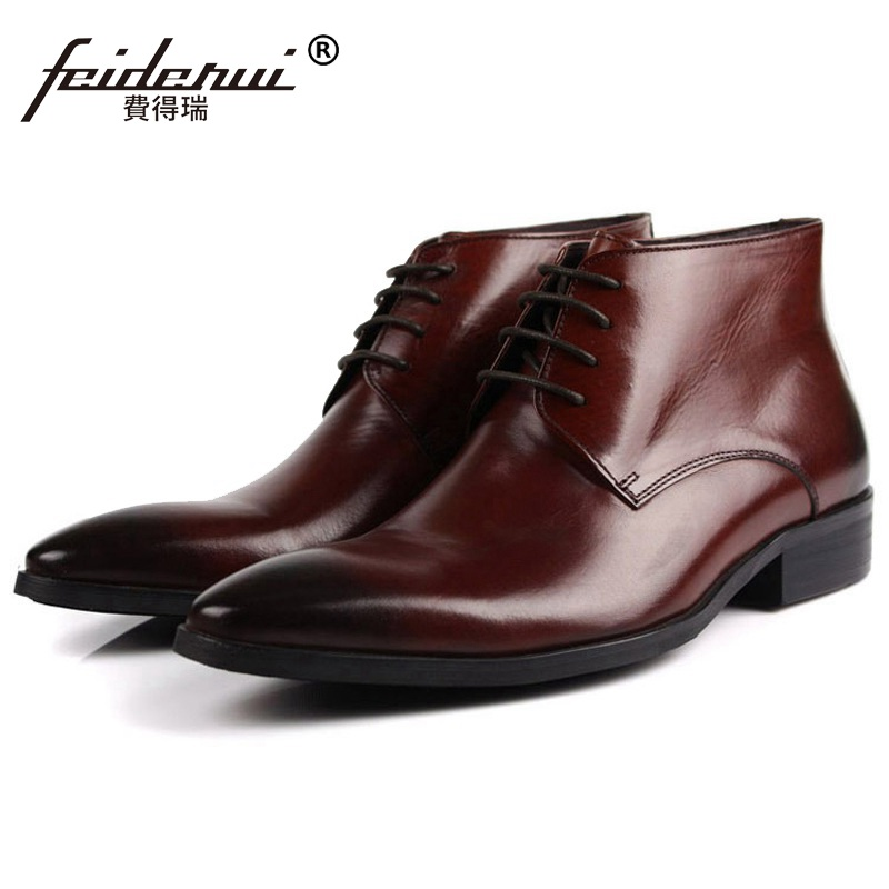 Italian Pointed Toe Brand Man Handmade Shoes Basic Designer Genuine Leather Male Footwear Men's Cowboy Martin Ankle Boots SF52 цены онлайн