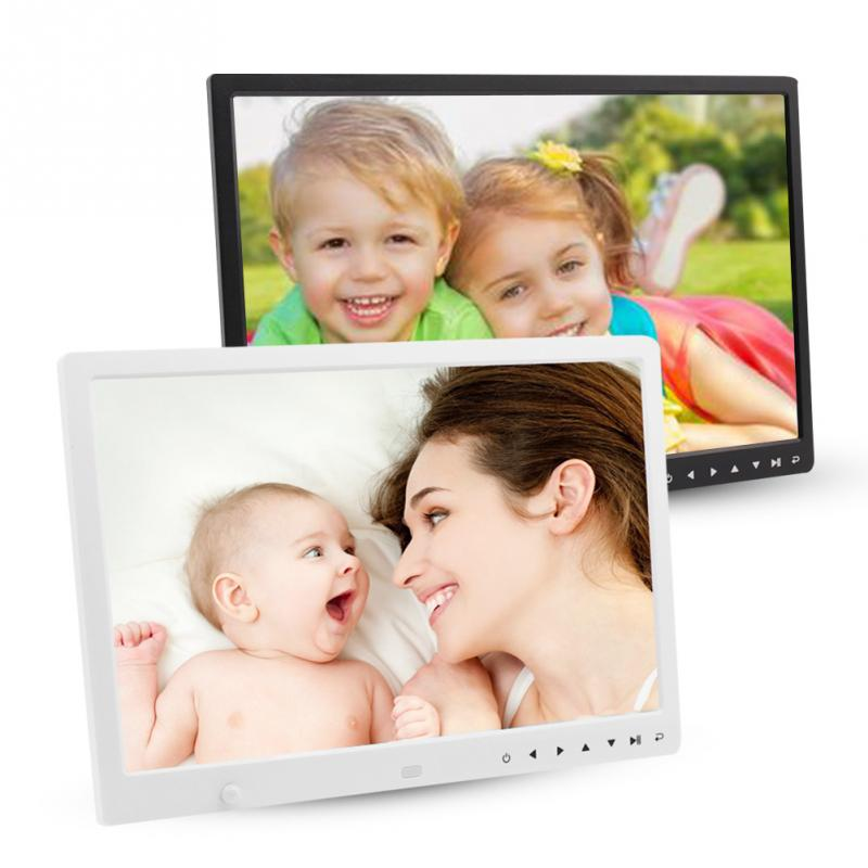 15inch HD Screen Touch Button Digital Photo Frame Alarm Clock MP3/4 Movie Player