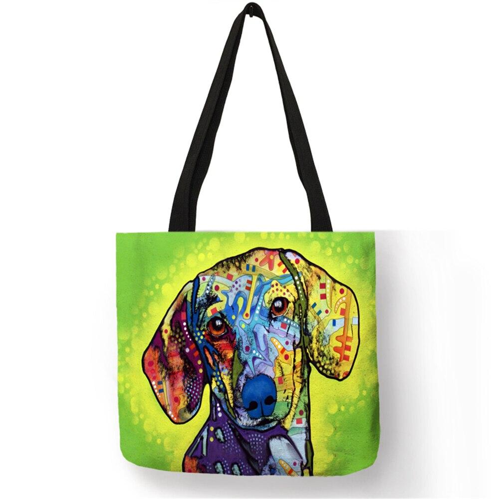 Hause Aufbewahrungsbeutel Kleidung Lebensmittel Bunte Hund Pattern Wiederverwendbaren Einkaufstaschentasche Frauen Beiläufige Handtaschen Schule Umhängetasche