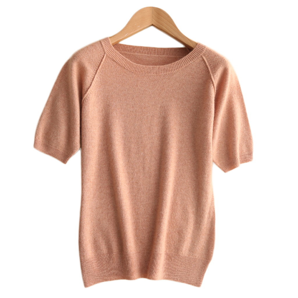 2019 New Design Pure Cashmere Wool Pullovers Short Sleeved O Neck Sweater Casual Loose Vest Soft