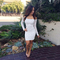 OUMEIYA OMY228 White Sexy Long Sleeve Lace Cocktail Dresses Sexy Open Back Straight Short Prom Party Dresses
