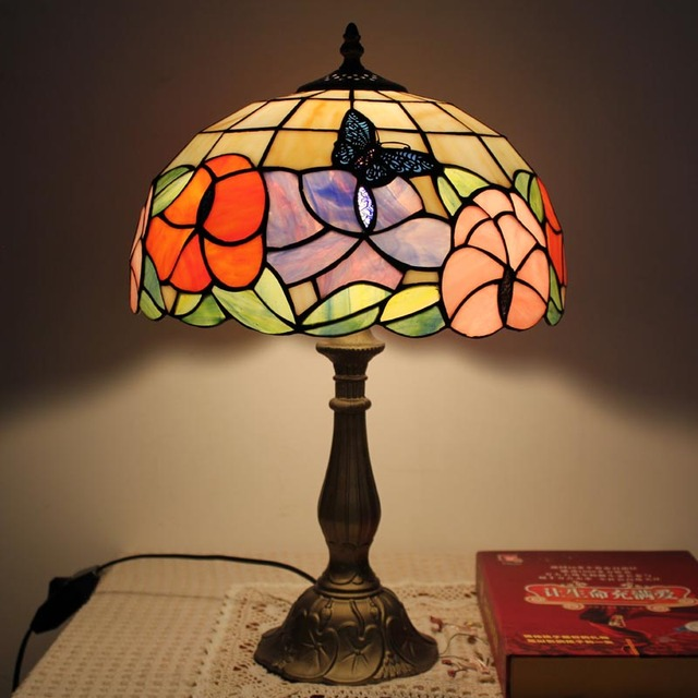 Floral Tiffany Style Table Lamp Classic Antique Handcrafted Stained
