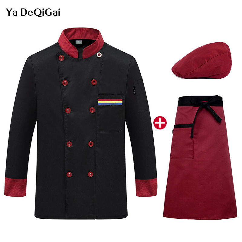 Unisex Catering Work Clothes Jackets Long Sleeve Restaurant Kitchen Uniforms Hat Apron Wholesale Shirt Men Chef M-4XL Chefs Hat