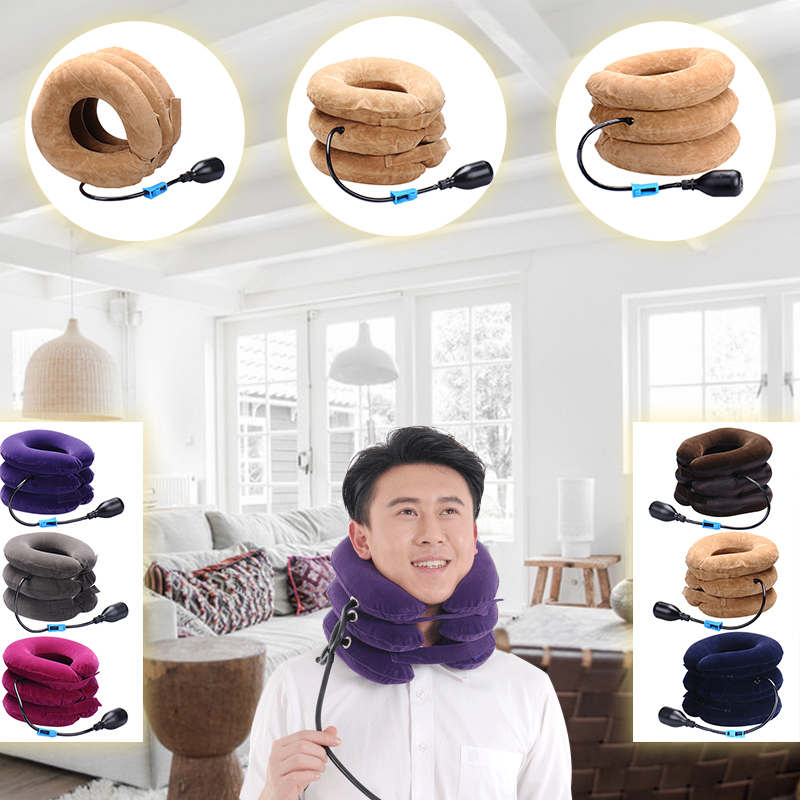Hot Neck cervical traction device inflatable collar Head Back Shoulder Neck Pain Headache health care massage device medical neck support orthosis adjustable cervical collar device fixed traction braces vertebra rehabilitation head protection