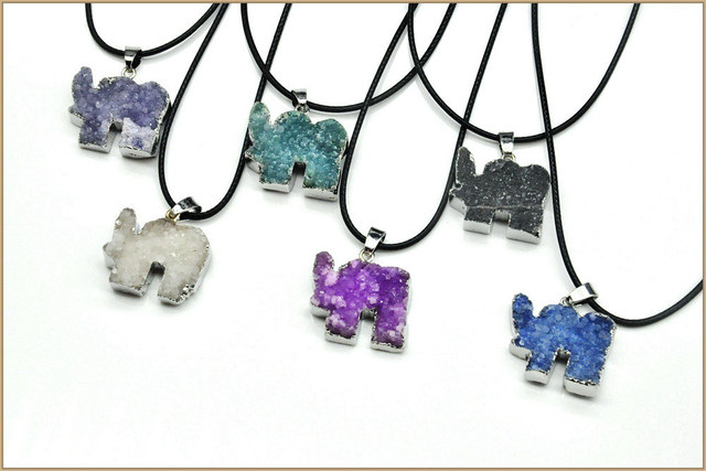 Yumten Natural Crystal Cluster Necklace Elephant Pendant Precious Sapphire Superstar European Style Necklace 925 Silver Gemstone