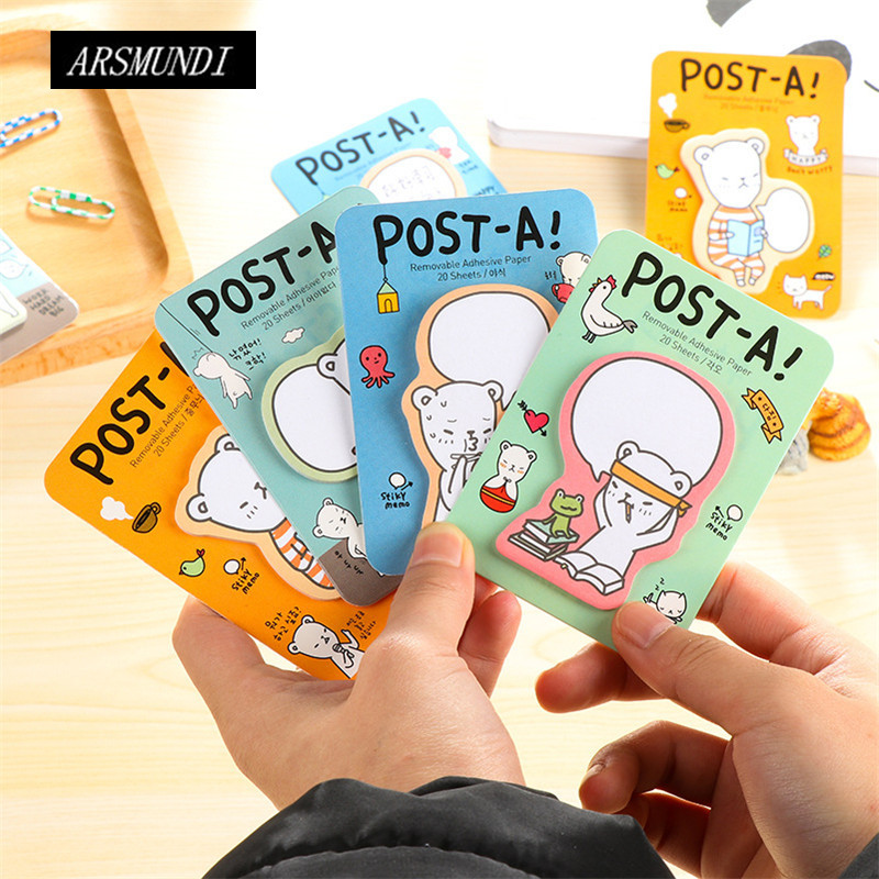 Cute Bear Memo Pad Sticky Notes Kawaii Notepad For Office Kawaii Stationery Post it Papeleria Planner Stickers School Supplies