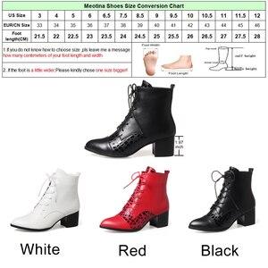 Image 5 - Meotina 2018 الشتاء حذاء من الجلد امرأة الدانتيل يصل أحذية بوت قصيرة كتلة كعب الأحذية حجم كبير 34 43 الأحمر الأبيض الخريف أحذية بوتاس موهير