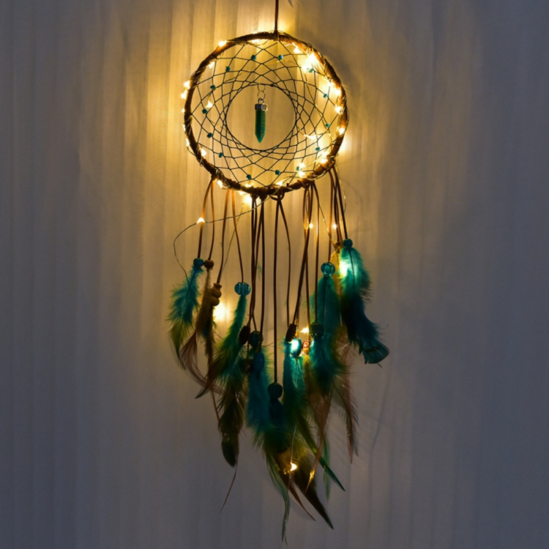 Handmade LED Light Wall Hanging Dream Catcher Light Craft DIY Party Home Decor
