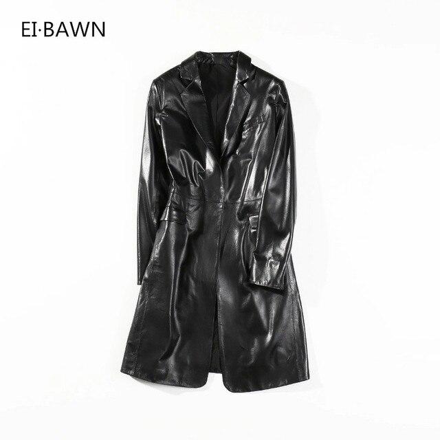 Leren Klassieke Jassen 2018 Vrouwen Zwart Echt Streetwear Lange qnBxpwf1z