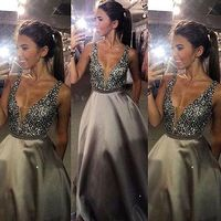 Vestidos Real Photo V neck Long Evening Dresses 2019 Hot Sale Beading Satin Backless Evening Gowns Formal Prom Party Dress
