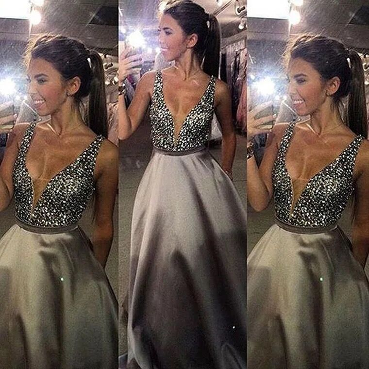 Vestidos Real Photo V-neck Long   Evening     Dresses   2019 Hot Sale Beading Satin Backless   Evening   Gowns Formal Prom Party   Dress