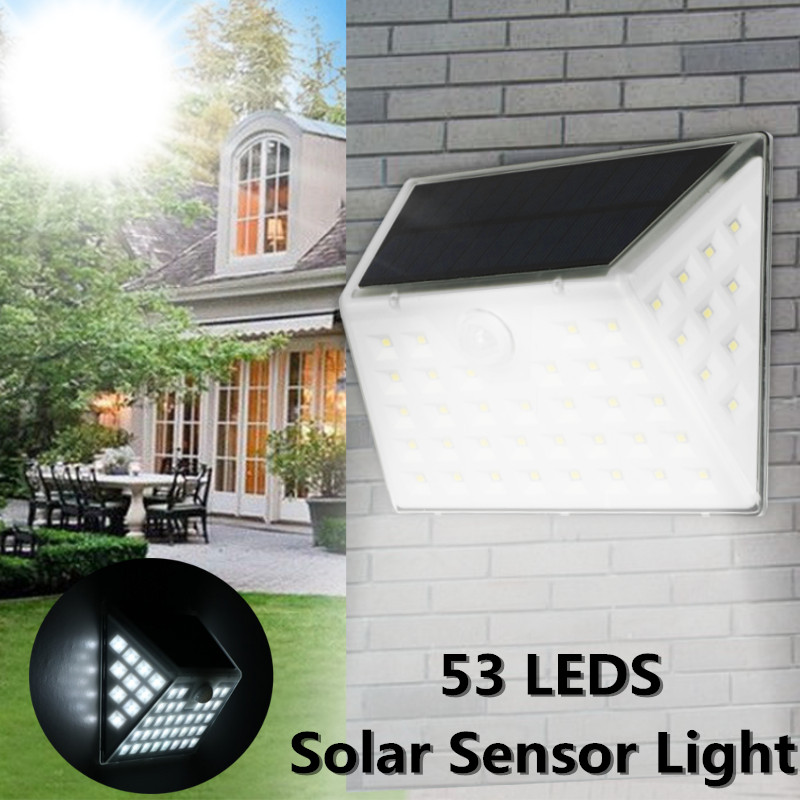 Mising Solar Lamp Waterproof 53LED Motion Sensor Solar Light Powered Garden LED Solar Light Outdoor Wall Lamp Stairs Lights led solar lamp waterproof ip65 20led solar light powered garden led solar light outdoor abs wall lamp stairs lights