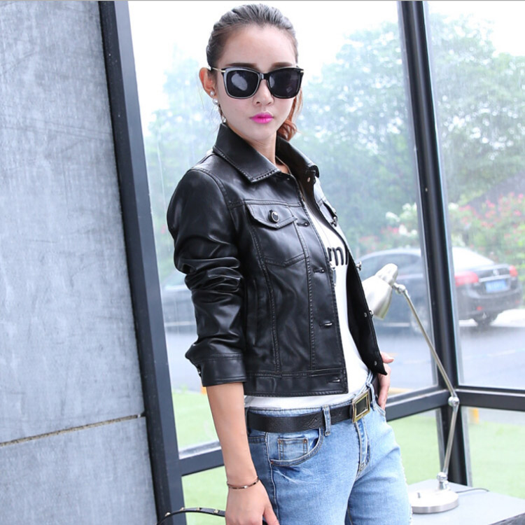 2018 New Spring Short Paragraph   Leather   Jacket Ladies Locomotive Black Small   Leather   Jacket Women Blue Coat Female Outerwear