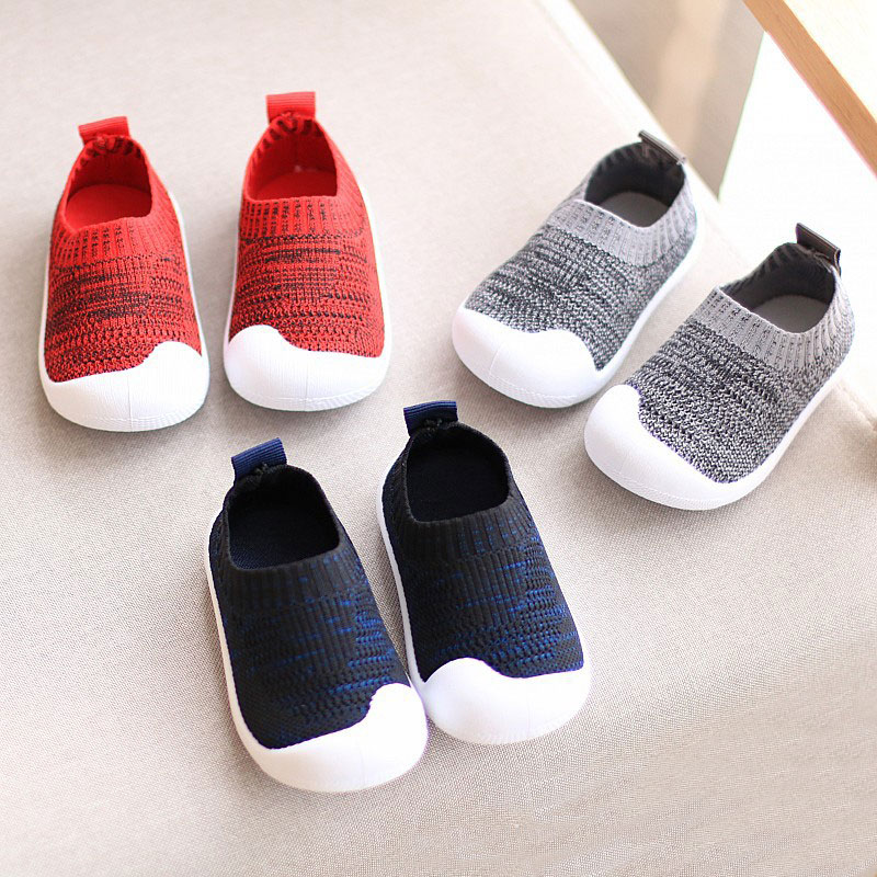 Spring Autumn Breathable Non-slip Baby Shoes Soft Bottom Girls And Boys First Walker Knitted Casual Kids Toddler Shoes EUR 15-22