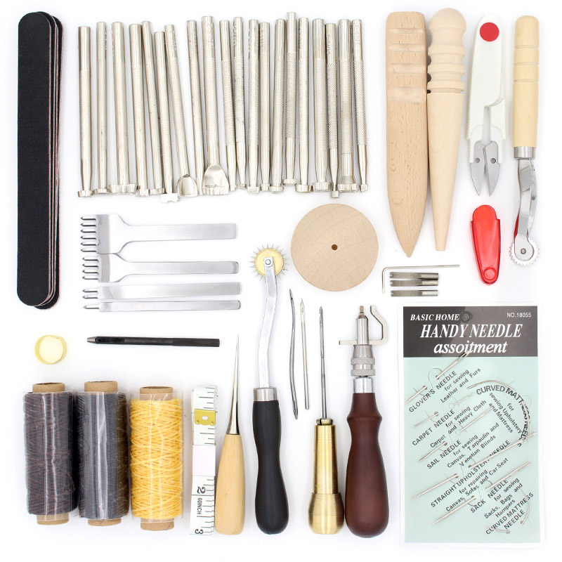 цена на Leather Craft Kit with Punching, Sewing, Engraving, and Hand Stitching Needle, Leather Edge Polishing Awl for Leathercraft Tools