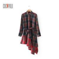 Vintage suknie szkocja plaid ruffles bow tie pasa czerwona sukienka z długim rękawem kolor wiosna 2018 kobiety odzież