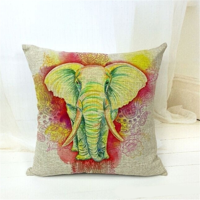 Cushion Cover India God Elephant Print Pattern Pillow Case Cotton