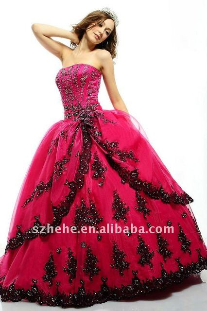 Q0042 Puffy Organza hot pink quinceanera dress with black appliques ... 7e68ed3222c1