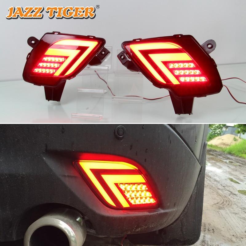 JAZZ TIGER 2PCS Car LED Rear Fog Lamp Brake Light Turn Signal Bumper Decoration Lamp For