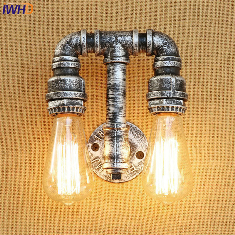 IWHD Retro Loft Style Iron Water Pipe Lamps Industrial Vintage Wall Light Fixtures Edison Wall Sconce Indoor Lighting
