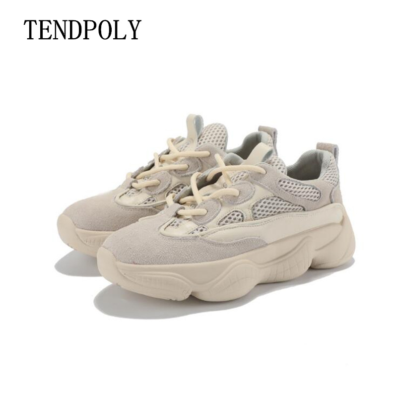 New women shoes 2019 spring autumn sneakers women Lace up Genuine Leather shoes Thick bottom trend