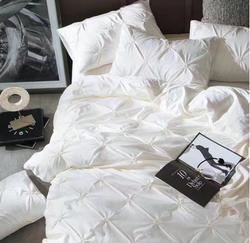 4-Pieces Imitated Silk Luxury Bedding Set Beige Pinch Pleat Bed Set King Queen Bed Linens Duvet Cover Bed Sheet Cotton