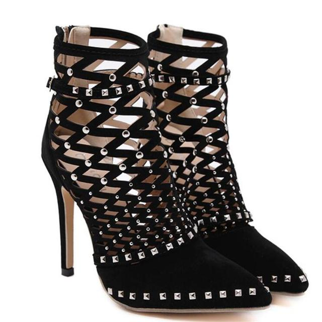 New Arrival Roman Sandals European Cut outs Gladiator Rivet High Heels Sexy Genova Stiletto Ankle Cool boots Ladies Party Shoes
