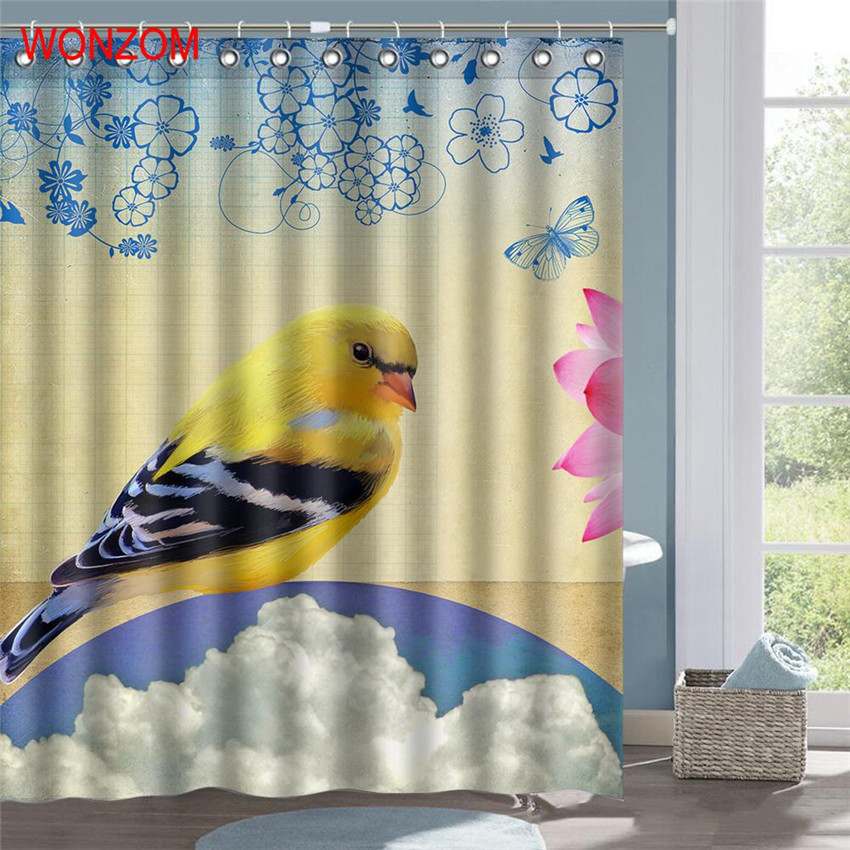 WONZOM 1Pcs Bird Waterproof Shower Curtain Panda Frog Bathroom Decor Animal  Decoration Cortina De Bano 2017