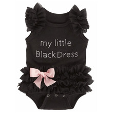 New Baby Black Chiffon Cotton Triangle Romper Infant Summer Climbing Clothes with Pink Bow Newborn Sleeveless Leotard Jumpsuit