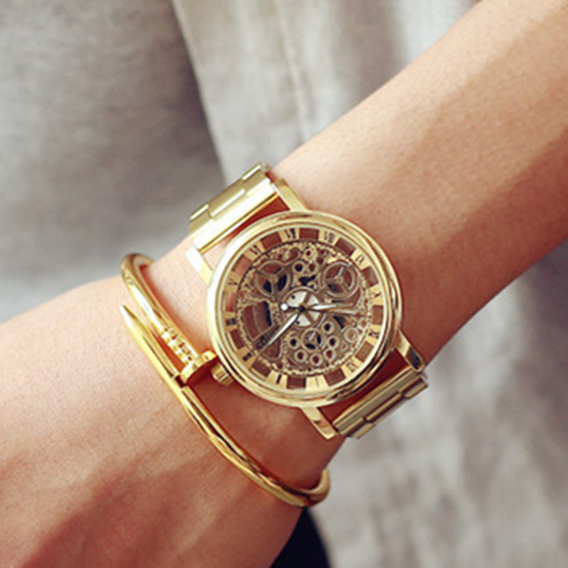 New Famous Brand Luxury Fashion Casual Stainless Steel font b Men b font Skeleton Watch Women