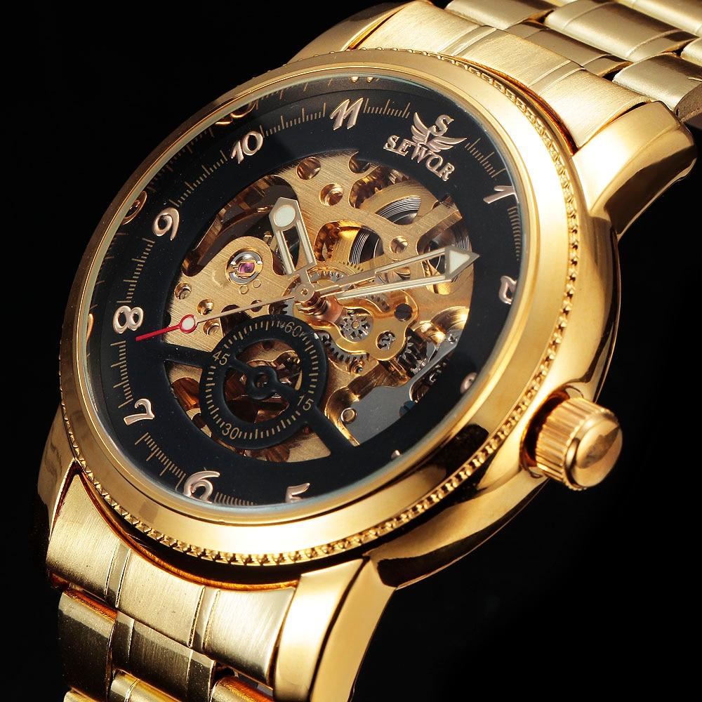 SEWOR skeleton horloge Goud Zilver Roestvrij staal Mechanisch - Herenhorloges