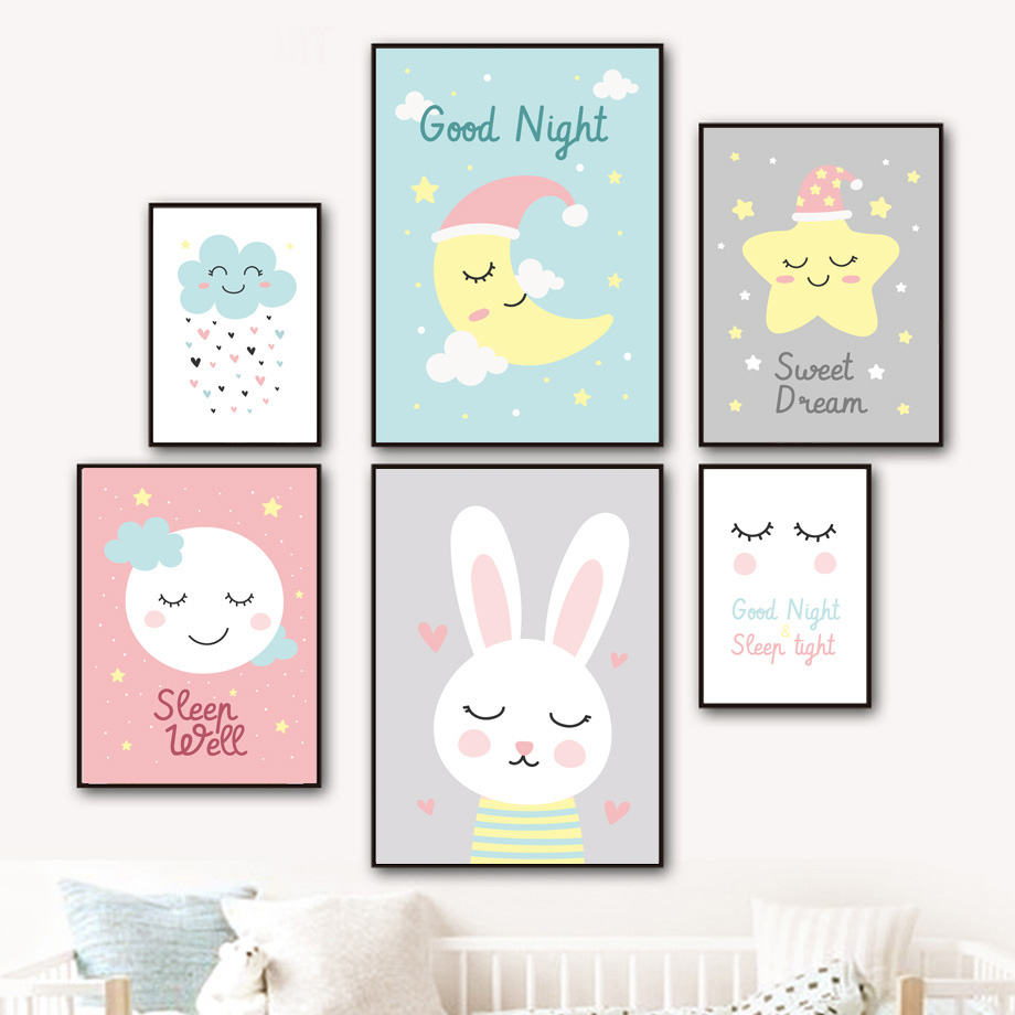 Cartoon Moon Star Bunny Cloud Wall Art Canvas Painting Sleep Quotes Nordic Posters And Prints Pictures For Kids Room Decor