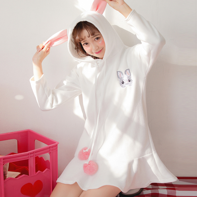 Bunny Embroidery Hoodie