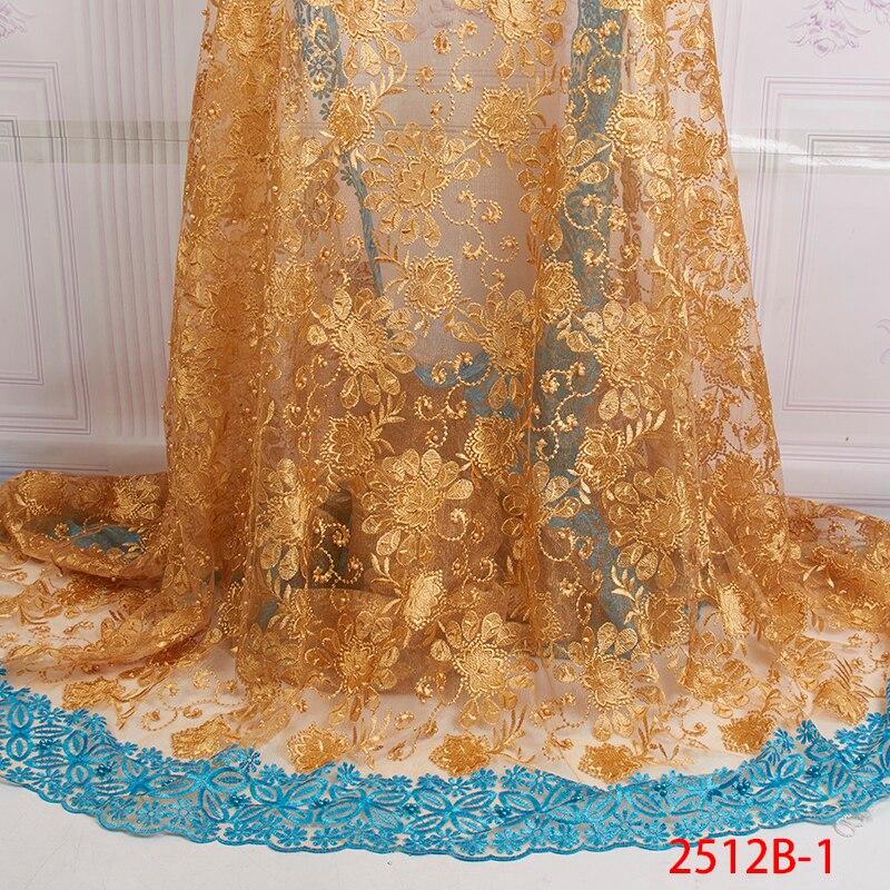 Hoge Kwaliteit Afrikaanse Goud Kant Stof Voor Naaien Afrikaanse Mesh Kant Stof Blauwe Kleur Kant Voor Vrouwen Trouwjurk XZ2512B 1-in Kant van Huis & Tuin op  Groep 1